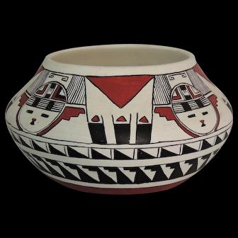 Southwest Native American Polychrome Pottery Pot Signed