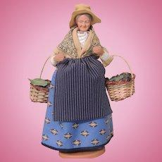 Claude Carbonel Clay Doll Santon De Provence France, Woman Berry Picker