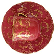 Ruby Red Royal Doulton Demitasse Cup and Saucers