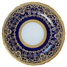 6 Limoges Cobalt Gilded Dinner Plates