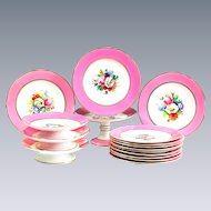 English Pink Floral Plates and Tazza Compotes