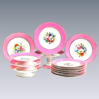 Old Paris Pink Porcelain Plates & Compotes