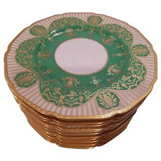 Black Knight Bavaria Green & Gold Dinner Plates
