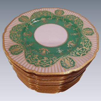 Black Knight Bavaria Green & Gold Dinner Plates
