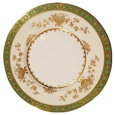 12 Tiffany and Co. Green Dynasty Pattern by Minton England Dinner Luncheon Salad Plates Gold Encrusted Raised Gilding