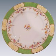 12 Coalport England Enameled Jeweled Luncheon Plates with Green Gold Rim