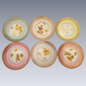 7 Copeland Spode Aesthetic Movement Dessert Plates by Davis Collamore New York