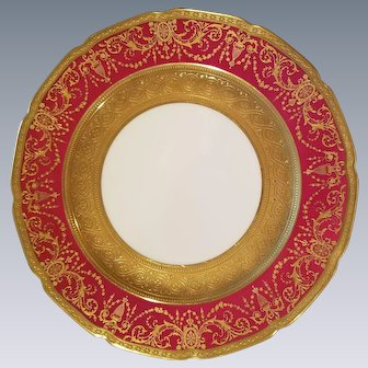 Limoges Guerin Porcelain Dinner Plates, Ruby Red & Gold Gilt