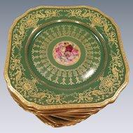 19th Century Bavarian Square Dessert Salad Plates