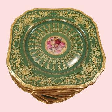 12 Antique Square Green Plates