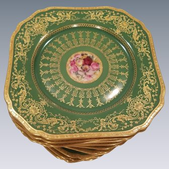 19th Century Bavarian Square Dessert Salad Plates