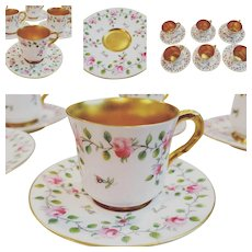 Royal Worcester Porcelain Demitasse Coffee Set Service for 6 - Handpainted & gilt 1910