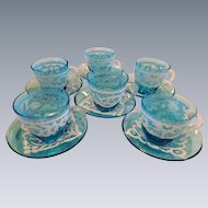 Venetian Glass Demitasse White Enamel Lace