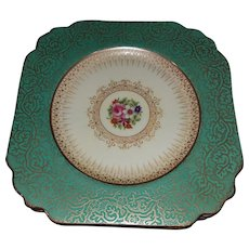 12 Green Square Floral Gold Gilt Dessert Cake Plates By Burley & Co. George Jones Cresent Chicago Made in England 26530