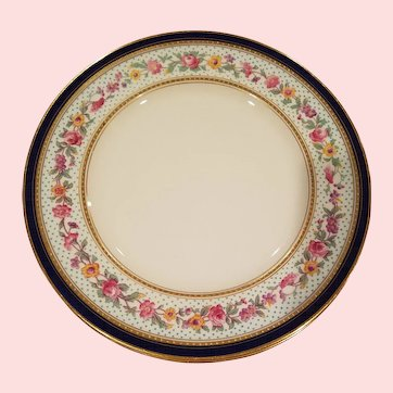 Hand Painted & Jeweled Floral Dinner Plates By George Jones Crescent England