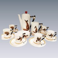 "Royal Doulton ""Reynard the Fox"" hunt motif Coffee Set for 6"
