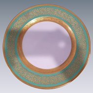 12 Green Rosenthal Ivory Bavaria Gold Gilded Dinner Plates