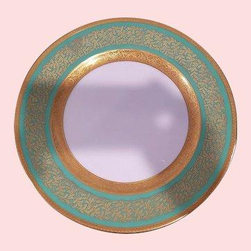 12 Green Rosenthal Ivory Bavaria Gold Gilded Dinner Plates