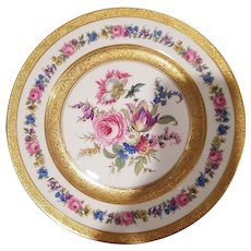 12 Rosenthal Ivory Luncheon Salad Plates US Patient Number 72653  Floral Design with Heavy Gold Trim German Porcelain