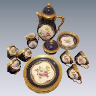 Lindner Kueps Bavaria Cobalt Blue Tea Coffee Dessert Plate Set includes, 6 Coffee Tea Trios