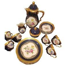 Lindner Kueps Bavaria Cobalt Blue Tea Coffee Dessert Plate Set includes, 6 Coffee Tea Trios