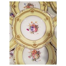 12 Royal Crown Derby England Lunch Salad Plates No.710699 Soft Pastel Yellow Color with Different Hand Painted Floral Center Each Plate Signed by E.Ellis