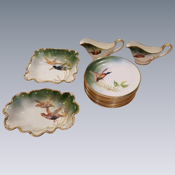 16 Piece George Jones Crescent Dinnerware China Hand Painted By W. Birbeck Pheasant Hunting Birds & 16 Piece George Jones Crescent Dinnerware China Hand Painted By W ...