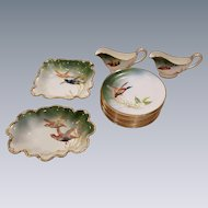 16 Piece George Jones Crescent Dinnerware China Hand Painted By W. Birbeck Pheasant Hunting Birds Scenes Green Gold Tones