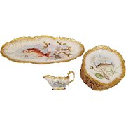 Antique Hand Painted Limoges Elite 12 Plates, 1 Large Platter, & 1 Gravy Sauce Boat - Under The Sea with Sea Shells, Sea Shore, Fishes With Heavy Gold Trim