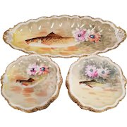 Set of 13 Limoges France Coronet Porcelain Game Fish Cabinet Plates 12 Dinner Plates and 1 Large Platter Hand Painted and Signed Puvis
