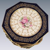 12 Lunch Salad Dinner Rosenthal Ivory Plates In Cobalt Blue With Gold Filigree Trim / Hand Painted Floral Center With Pink and White Flowers Octagon Shape