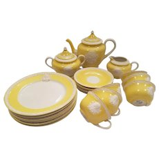 Dainty Musterschutz Czechoslovakia Union Tea Service Pastel Yellow Vintage Cameo Service For 6 Trios Tea Cups Saucers, Plates, Tea Pot, Creamer, Sugar Bowl