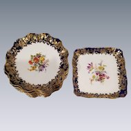 Royal Doulton Burslem Dessert Set Pattern RA72067 / 12 plate & 1 footed Serving Square Platter Scalloped Edges Cobalt Blue Gold Edge Hand Painted Floral