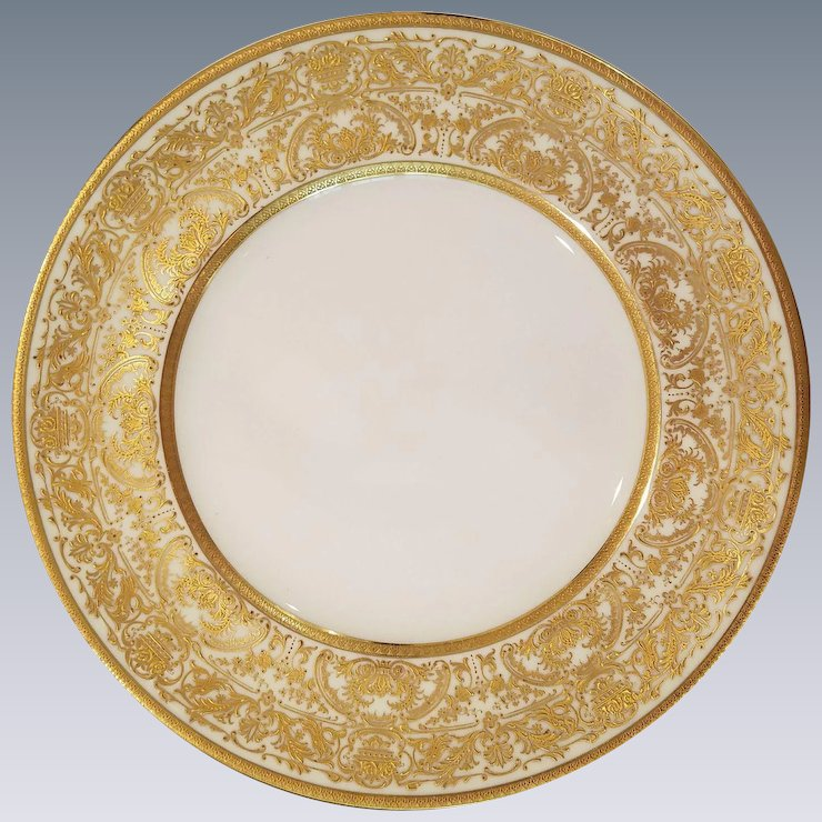 12 Royal Doulton Gold Encrusted Gilded Cabinet Dinner Plates 10.5\   sc 1 st  Ruby Lane & 12 Royal Doulton Gold Encrusted Gilded Cabinet Dinner Plates 10.5 ...