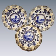 Antique Old Coalport Pierced Dessert Service Set 8 plates 2 comports Imari C1880 Scalloped Edges Cobalt Blue White Gold