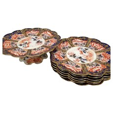 Wileman Foley Pre-Shelley 1875-1890 Antique Imari Pattern Dessert Set 6 Plates 1 Cake Plate Cobalt Blue and Red Scalloped Edges Gold Gilt