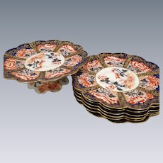 Wileman Foley Pre-Shelley 1875-1890 Antique Imari Pattern Dessert Set 6 Plates 1 Cake Plate Cobalt Blue and Red Scalloped Edges Gold Gilt