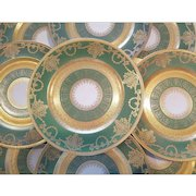 12 Green Gold Encrusted and Gilded Antique H&C Heinrich & Co. Selb Bavaria Ovington Dinner Plates