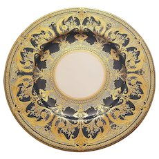 6 Royal Worcester Heavy Gold Gilded Dinner Plates On Dark Blue Cobalt Border