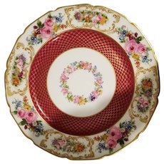 1 Limoges William Guerin & Co. dinner plate, maroon and gold with floral rim and center