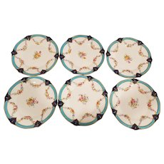 6 Royal Worcester Dessert Luncheon Plates. Turquoise, Cobalt, Gold and Hand Painted Floral Design