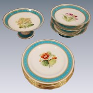 11 Piece Old English Partial Dessert Set.  Hand Painted, Enameled and Jeweled Floral Plates and Comports