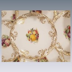14 Piece Davenport Partial Dessert Service Hand Painted Fruit Plates and Comports Circa 1840's