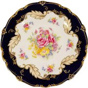 9 Piece Paragon English Dessert Set With Cobalt and Flowers. 6 Plates, 3 Serving Bowls Plates