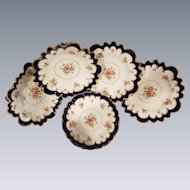 Cobalt Roses English Dessert Service By Maple & London 6 Plates, 2 comports, 1 Tazza, 1 Serving plate