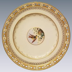 Minton, England Set of 12 Reticulated Plates with 4 Reticulated Compotes. Hand painted birds