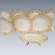 Art Deco KPM Porcelain Dinnerware. 8 Luncheon Dessert Plates Raised Gold Gilt Reticulated Pierced Cake Plate