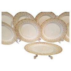 Art Deco KPM Porcelain Dinnerware. 8 Luncheon Dessert Plates Raised Gold Gilt Reticulated Pierced Cake Plate