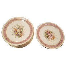 Royal Worcester Pink Dessert Service 6 Plates 1 Tazza Jeweled and Enameled