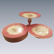Pink Victorian English Floral Dessert Service  6 Plates & 2 Tazza